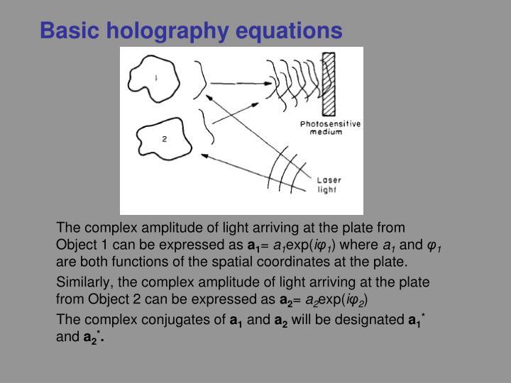 Basic holography equations