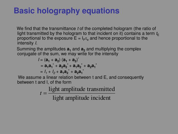 Basic holography equations
