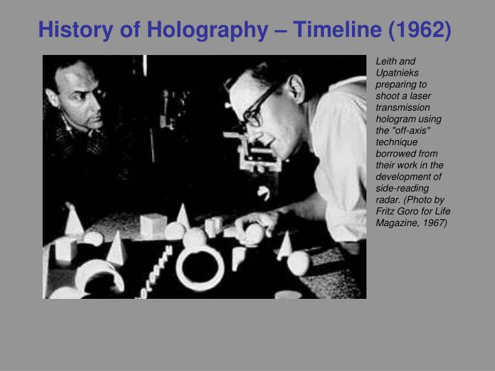 History of Holography – Timeline (1962)