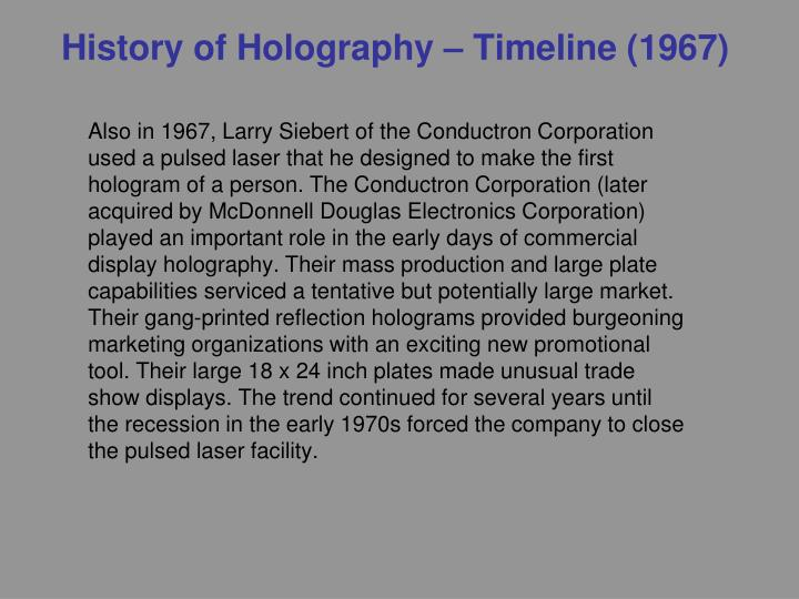 History of Holography – Timeline (1967)