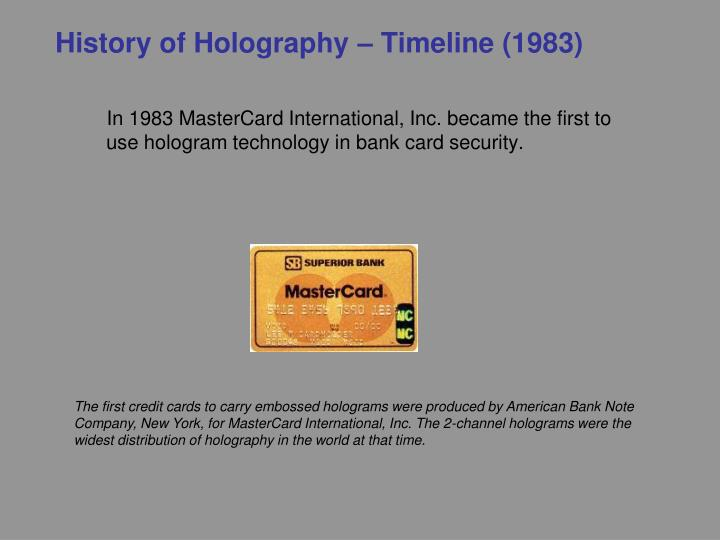 History of Holography – Timeline (1983)