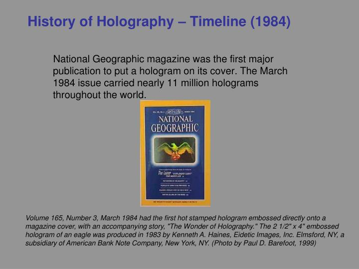 History of Holography – Timeline (1984)