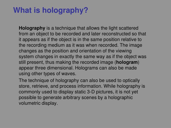 What is holography