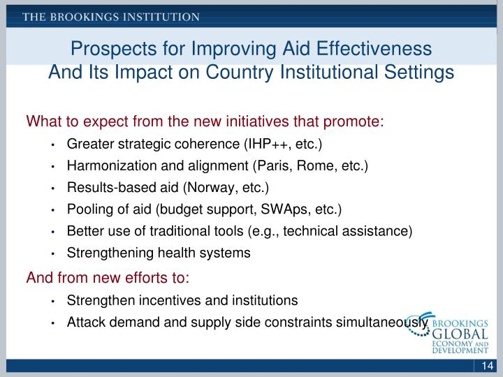Prospects for Improving Aid Effectiveness