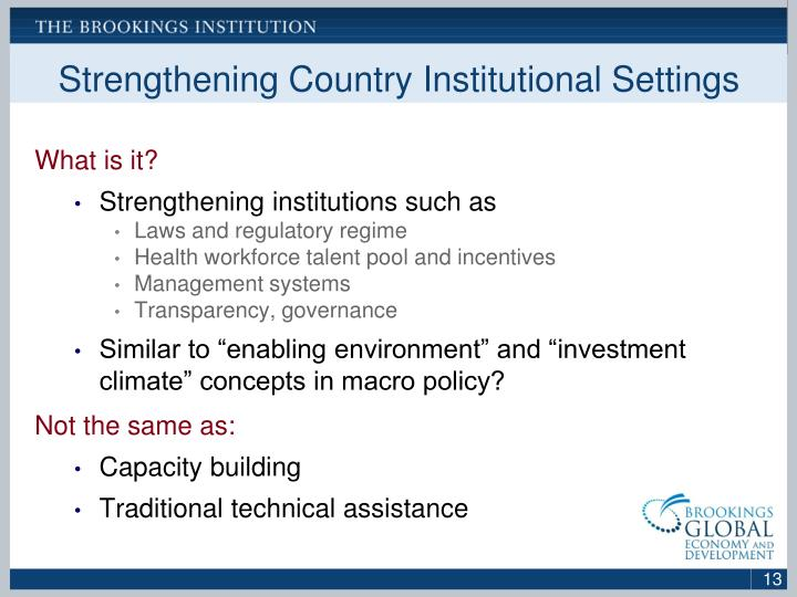 Strengthening Country Institutional Settings