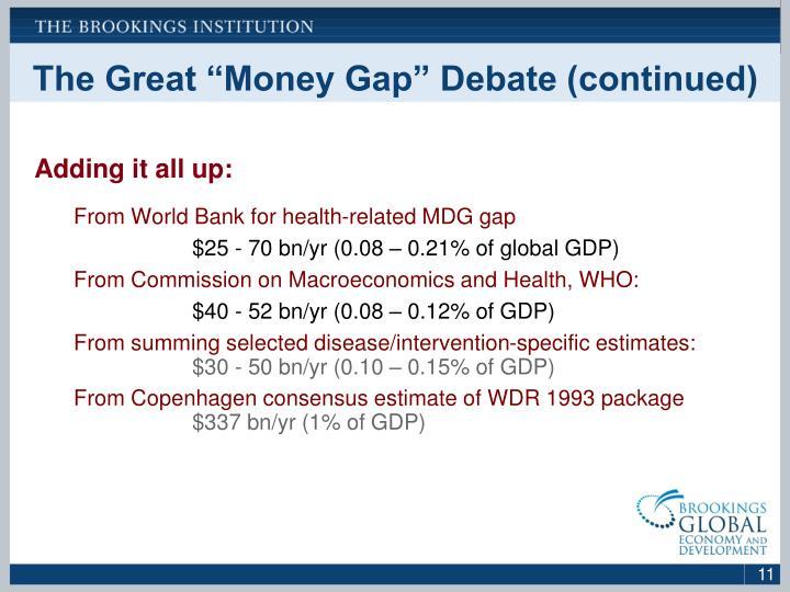 "The Great ""Money Gap"" Debate (continued)"