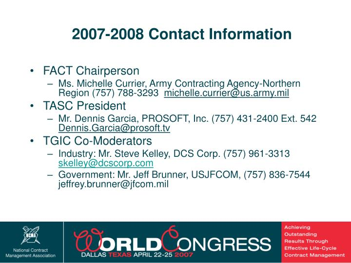 2007-2008 Contact Information