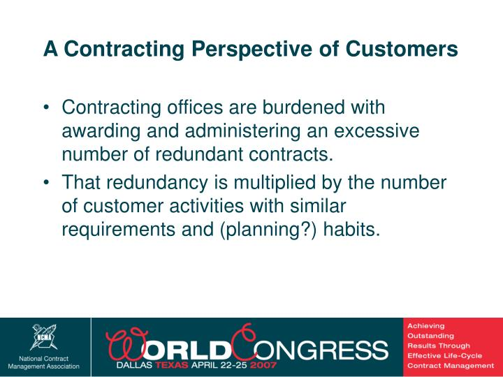 A Contracting Perspective of Customers