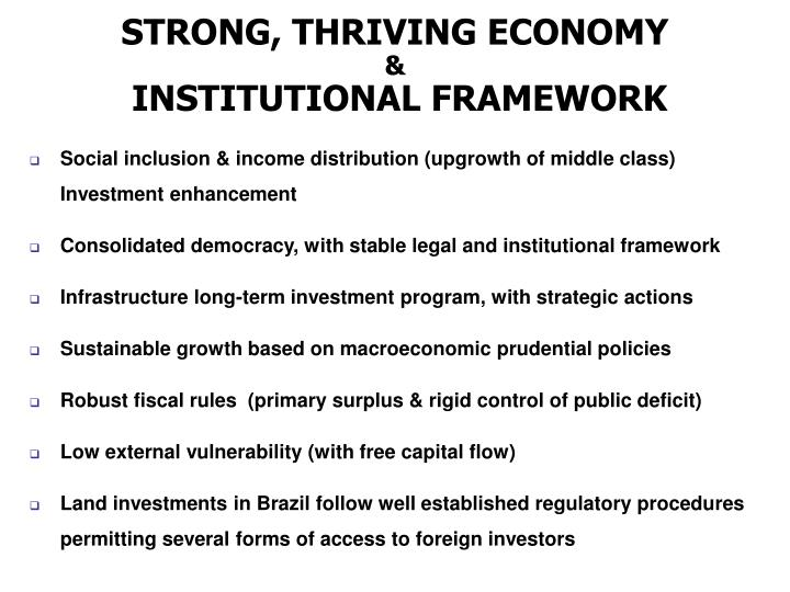 STRONG, THRIVING ECONOMY