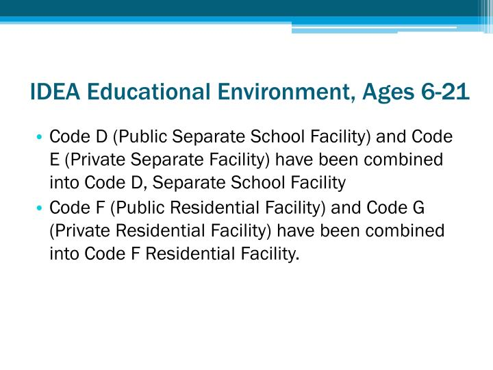 IDEA Educational Environment, Ages 6-21