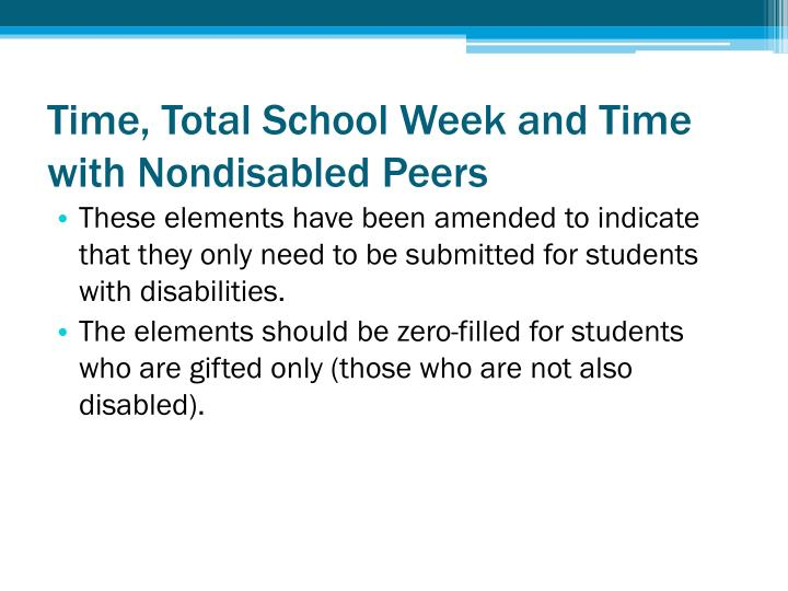 Time, Total School Week and Time with Nondisabled Peers