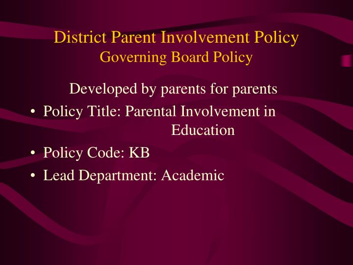 District Parent Involvement Policy