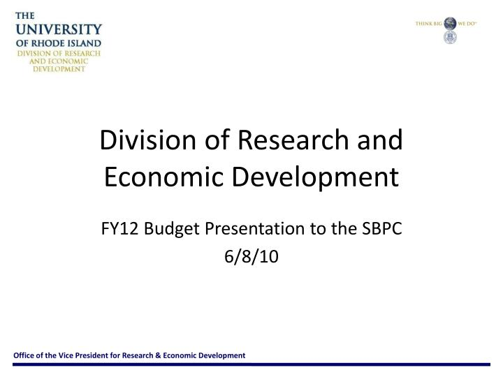 division of research and economic development