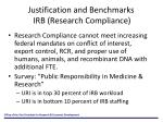 justification and benchmarks irb research compliance