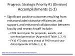 progress strategic priority 1 division accomplishments 1 2