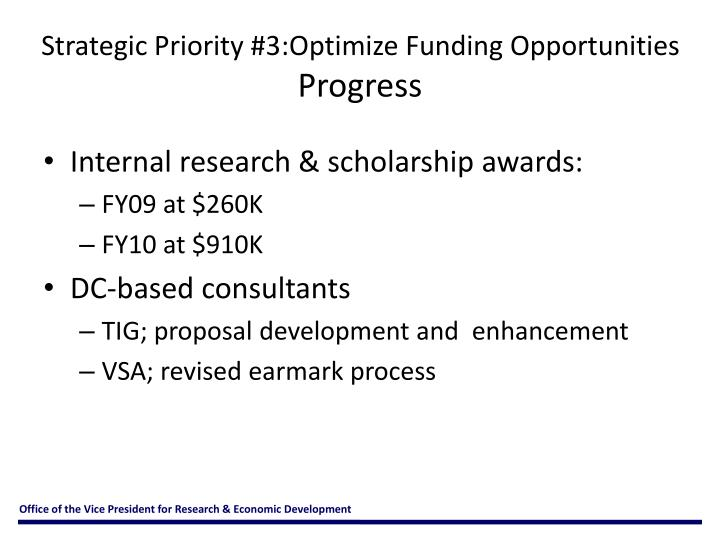 Strategic Priority #3:Optimize Funding Opportunities