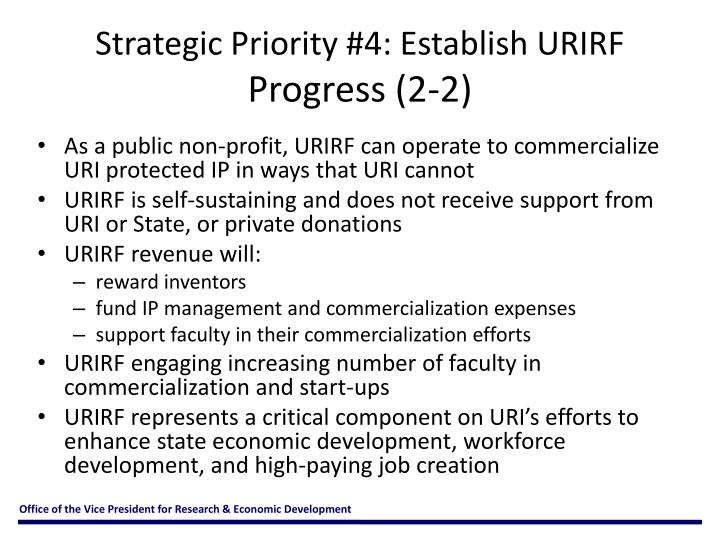 Strategic Priority #4: Establish URIRF