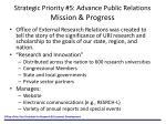 strategic priority 5 advance public relations mission progress
