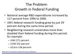 the problem growth in federal funding