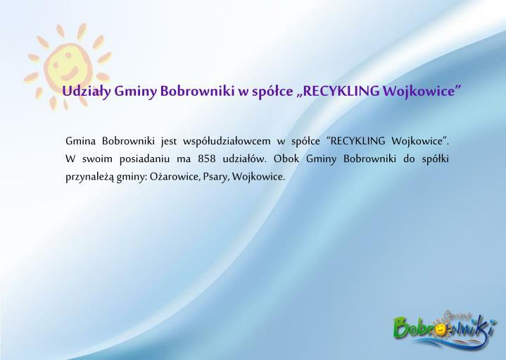 """Udziały Gminy Bobrowniki w spółce """"RECYKLING Wojkowice"""""""