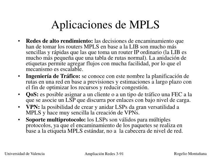 Aplicaciones de MPLS