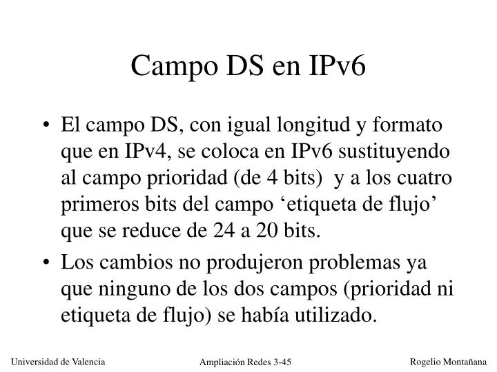 Campo DS en IPv6