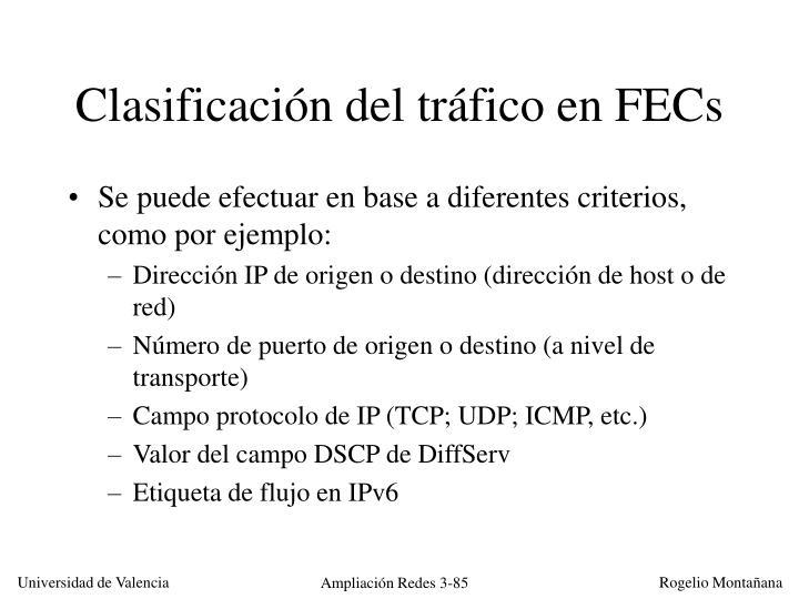 Clasificación del tráfico en FECs