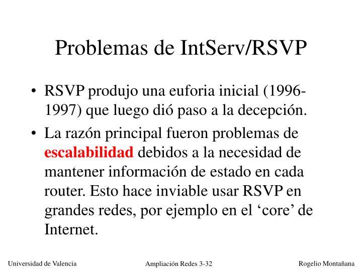 Problemas de IntServ/RSVP