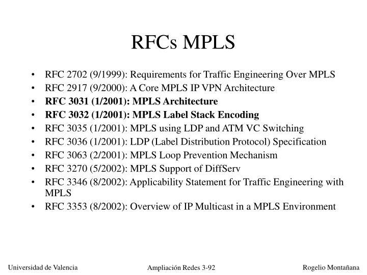 RFCs MPLS