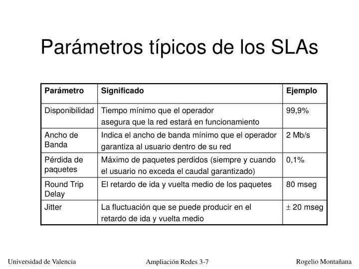 Parámetros típicos de los SLAs