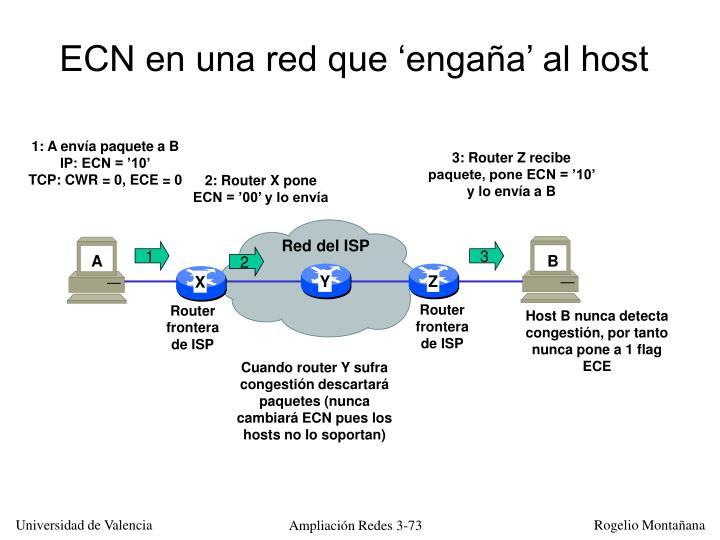 ECN en una red que 'engaña' al host