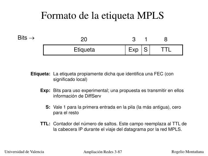 Formato de la etiqueta MPLS