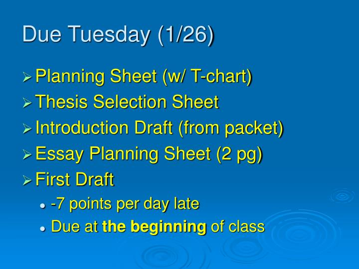 Due Tuesday (1/26)