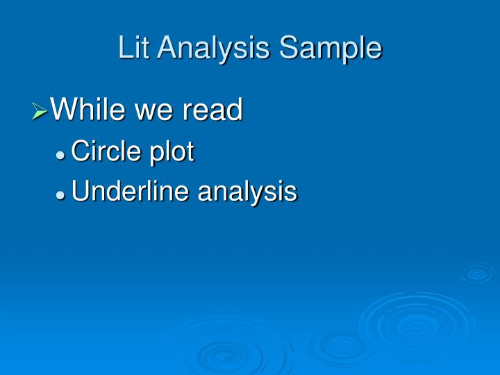 Lit Analysis Sample