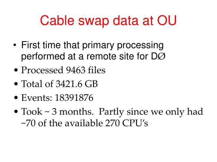 Cable swap data at OU