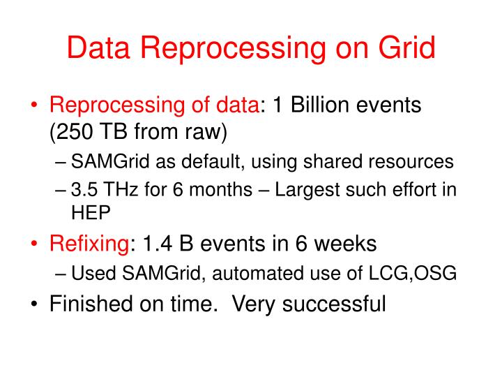 Data Reprocessing on Grid