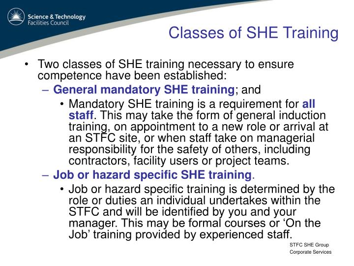 Classes of SHE Training