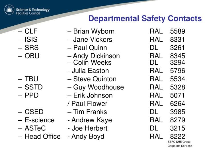 Departmental Safety Contacts