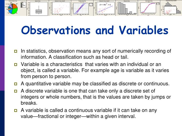 Observations and Variables