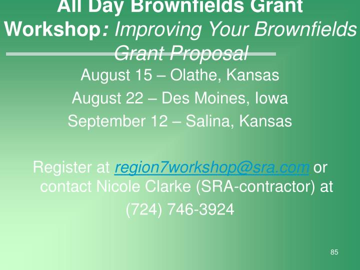 All Day Brownfields Grant Workshop