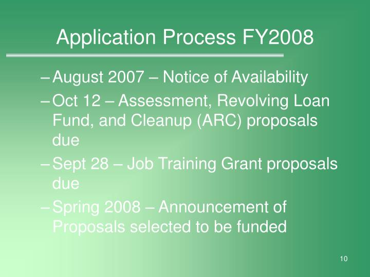 Application Process FY2008
