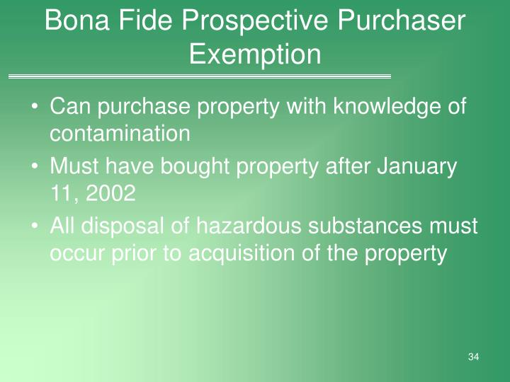 Bona Fide Prospective Purchaser Exemption