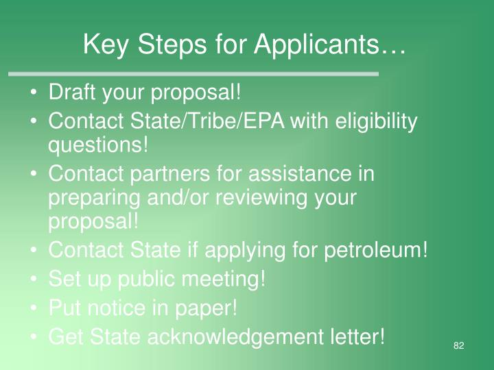 Key Steps for Applicants…