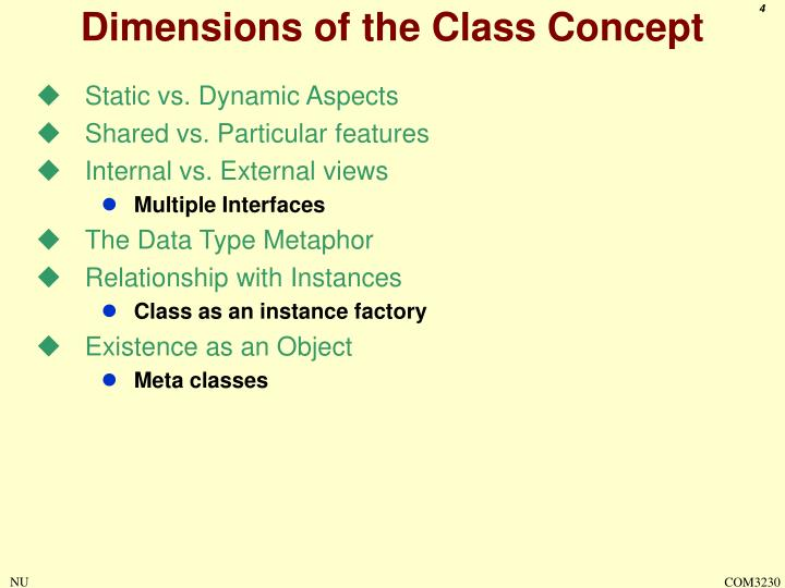 Dimensions of the Class Concept