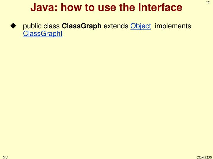 Java: how to use the Interface