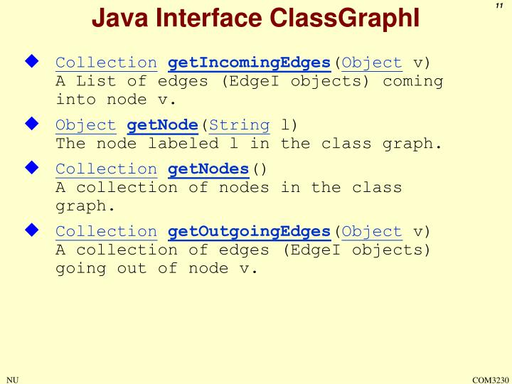 Java Interface ClassGraphI