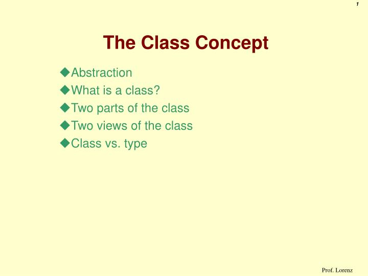 The class concept