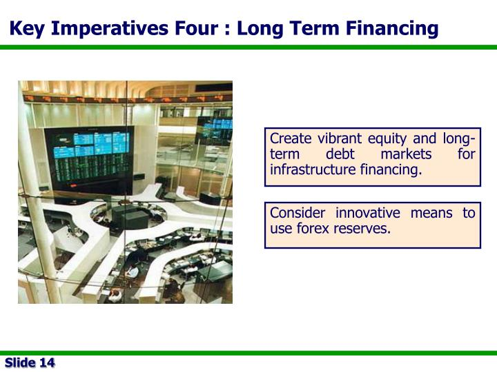 Key Imperatives Four : Long Term Financing