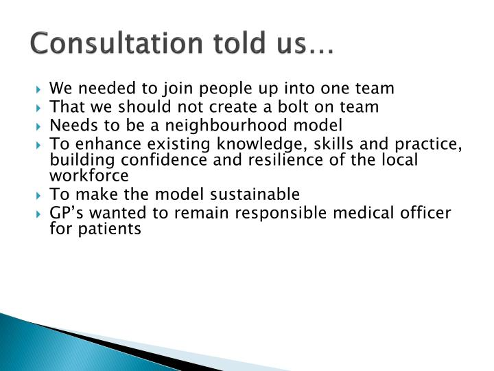 Consultation told us…