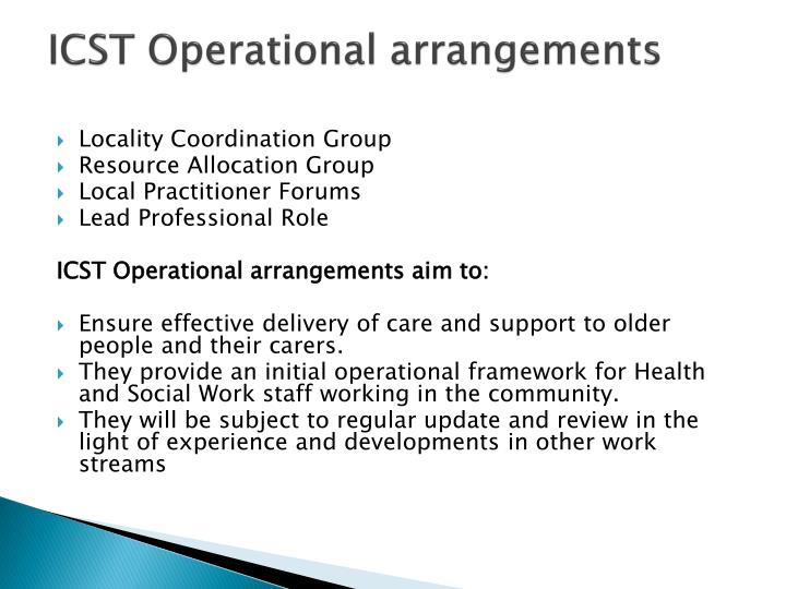 ICST Operational arrangements